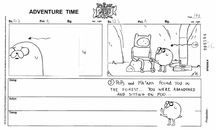 adventure time storyboard example