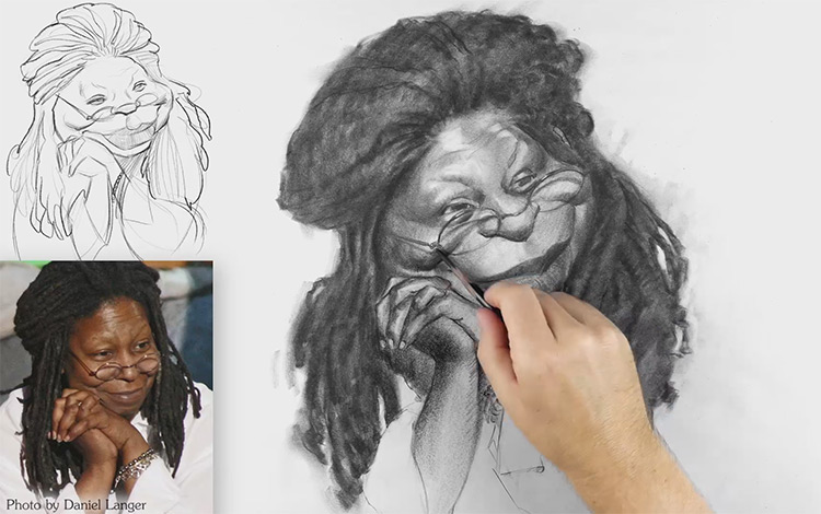 whoopi goldberg caricature drawing