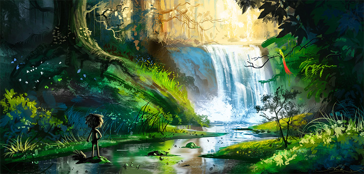 jungle waterfall flowing lush trees art environment