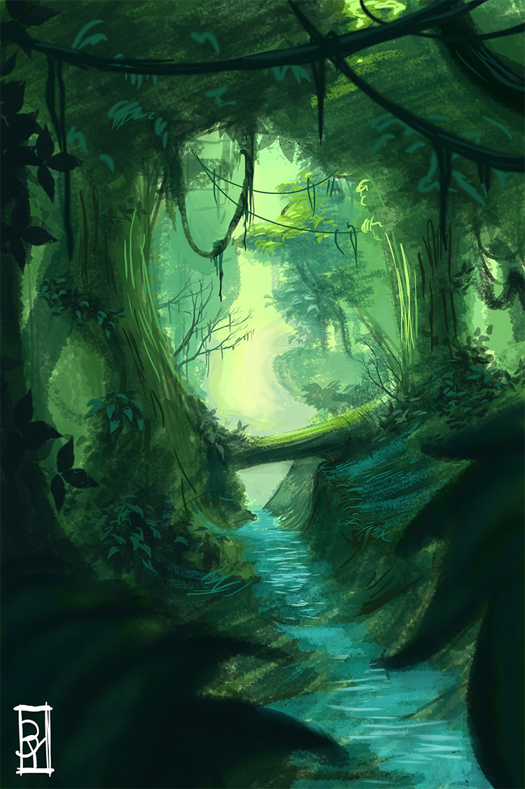 deep jungle stream running water environment