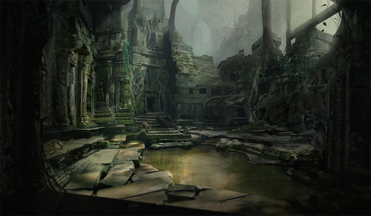 jungle temple concept art environment