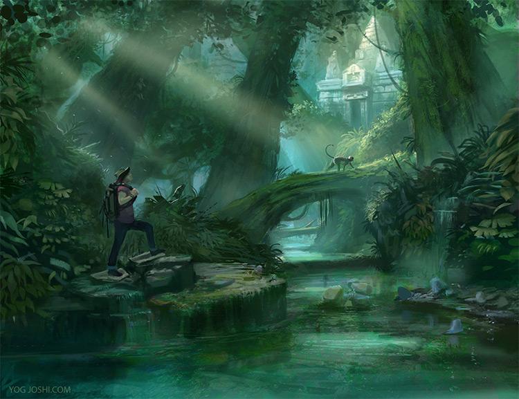temple monkey adventure jungle environment