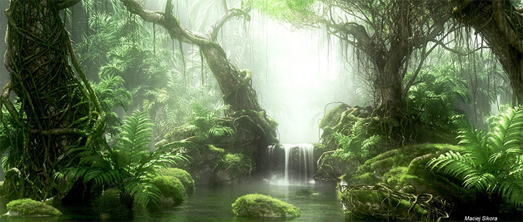 deep lush jungle rendered concept art