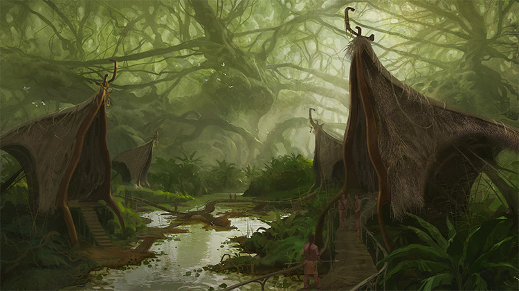 huts in jungle village environment art