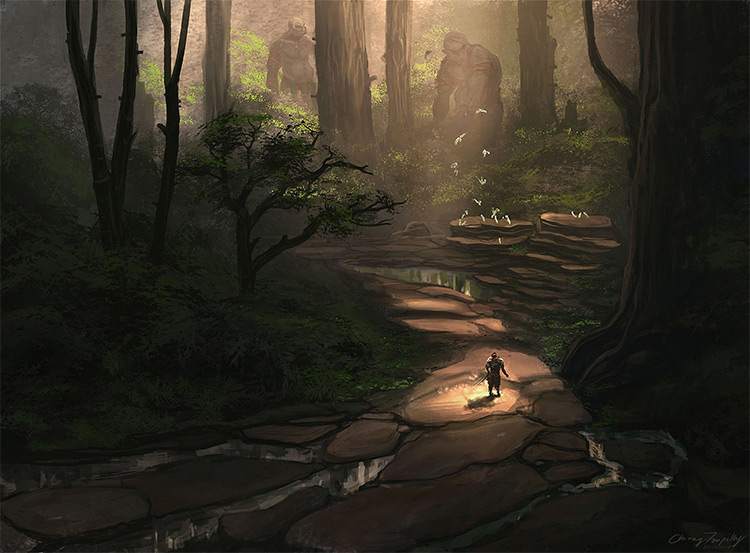forest trolls path environment art
