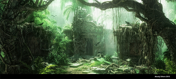 jungle ruins overgrowth rendered environment