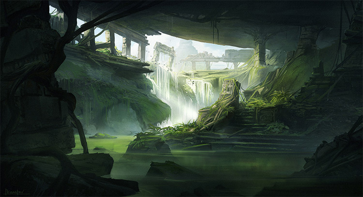 Jungle Environment Paintings For Concept Art Inspiration