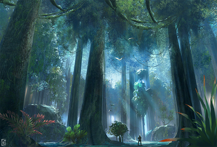 star wars jungle concept ideas digital painting