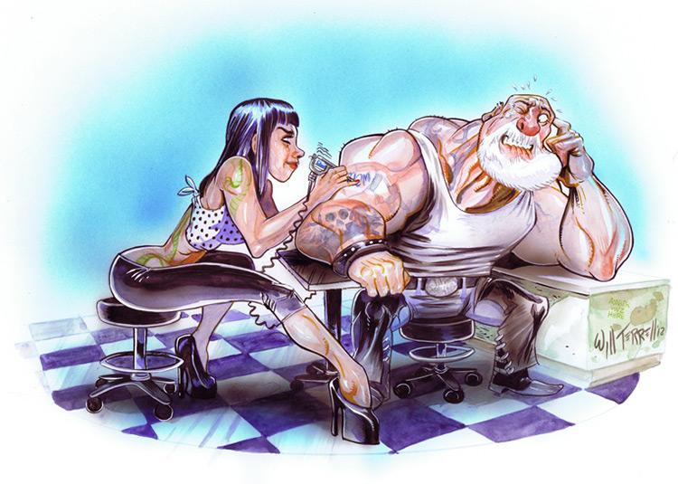 tattoo parlor biker illustration will terrell