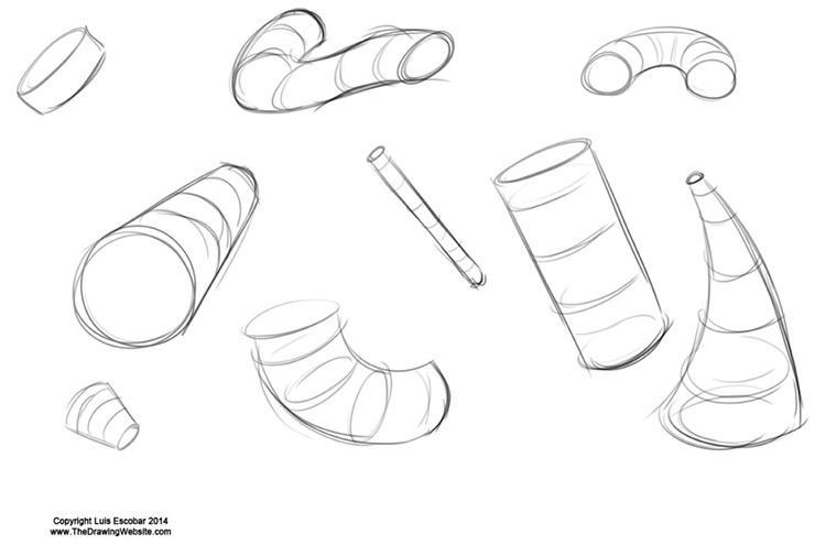 practicing sketches cylinders forms artwork