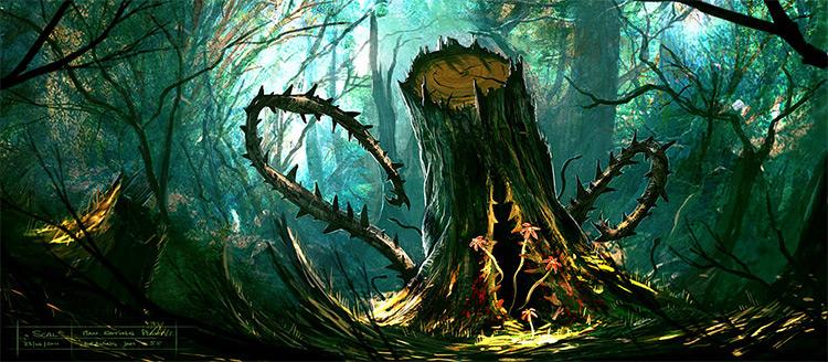 man eating plant stump tree