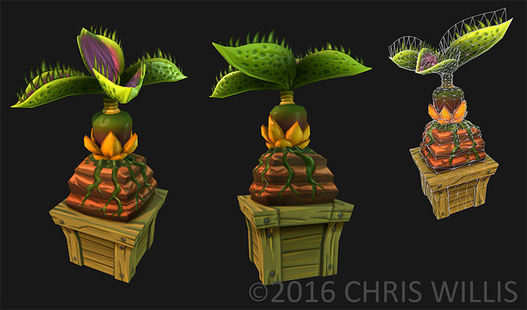 stylized poly game plants