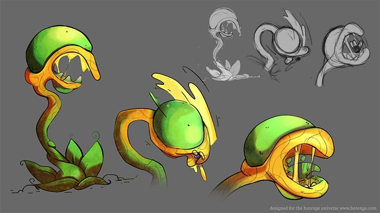 krakker man eating plant illustration