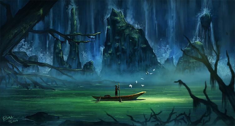 rowing boat through swamp water