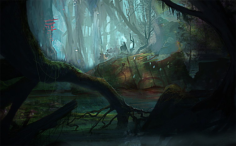 dark swamp environment concept art