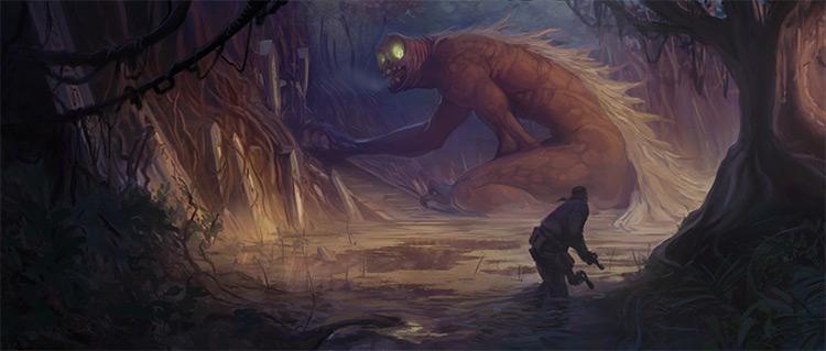 swamp creature battle concept art