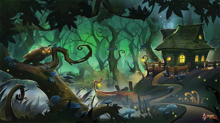 magical swamp environment art