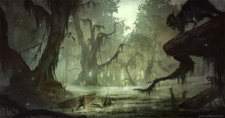 musky swamp environment art