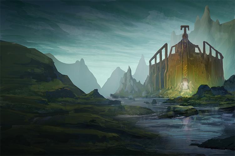 swamp castle environment art