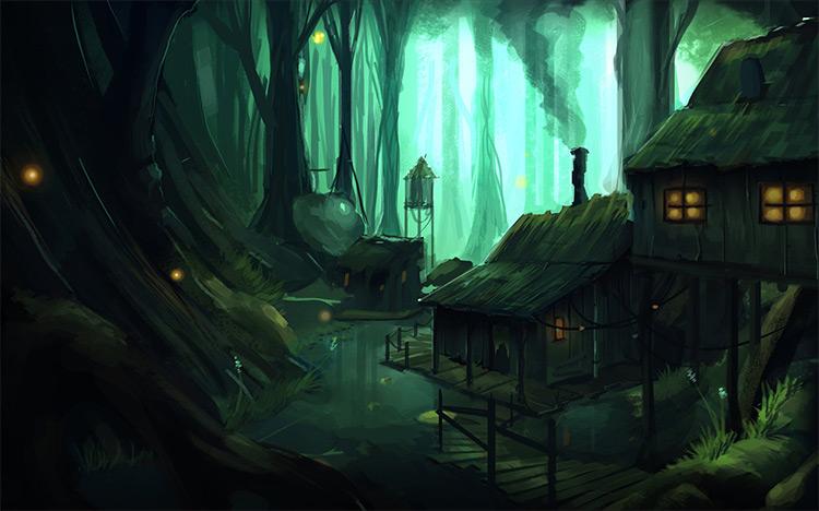 village in a swamp
