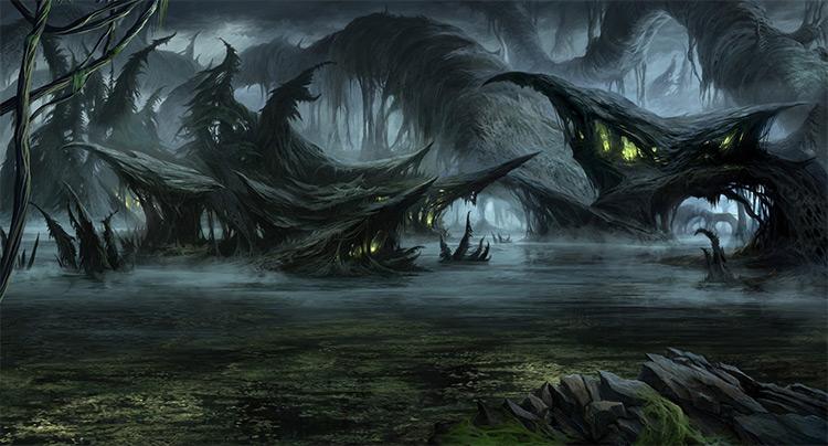 monolith video game swamp art