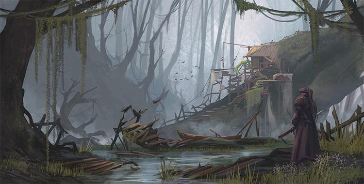 swamp house environment concept art