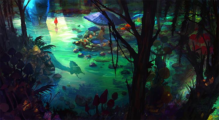 magical swamp creatures environment art
