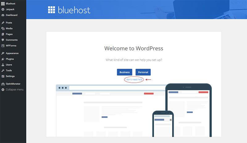 skip bluehost help setup