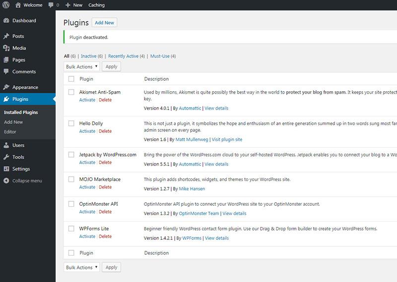 uninstalled defaults bluehost plugins