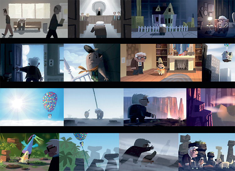 pixar 25th up color scripts