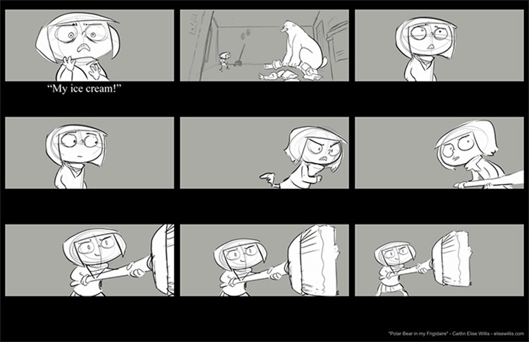 elise polar bear ice cream storyboard