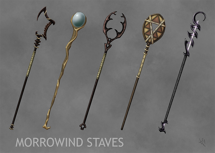 morrowind staves concept art