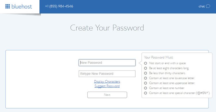 create password for new account