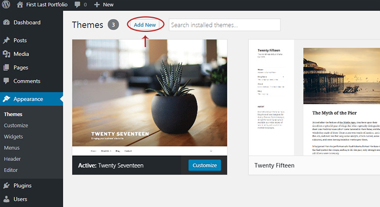 add new theme button wordpress