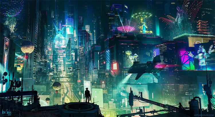 Digital cyberpunk cityscape