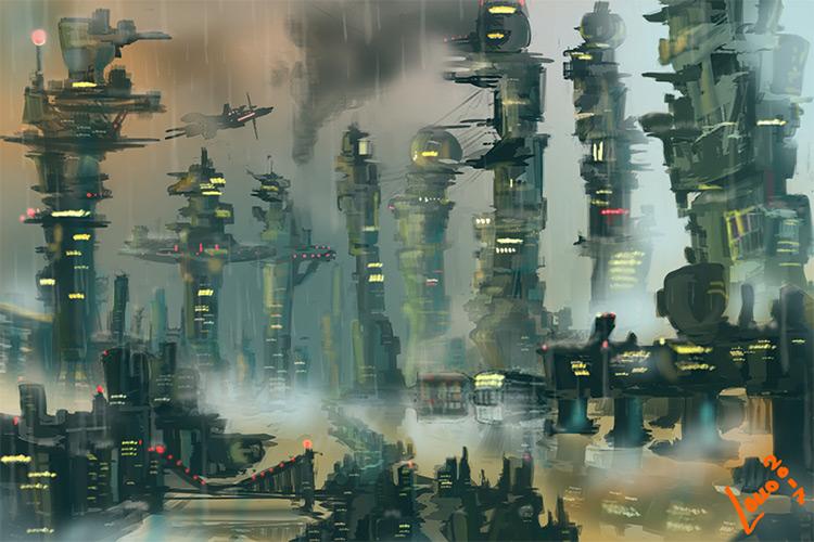 Custom brushwork on a future city