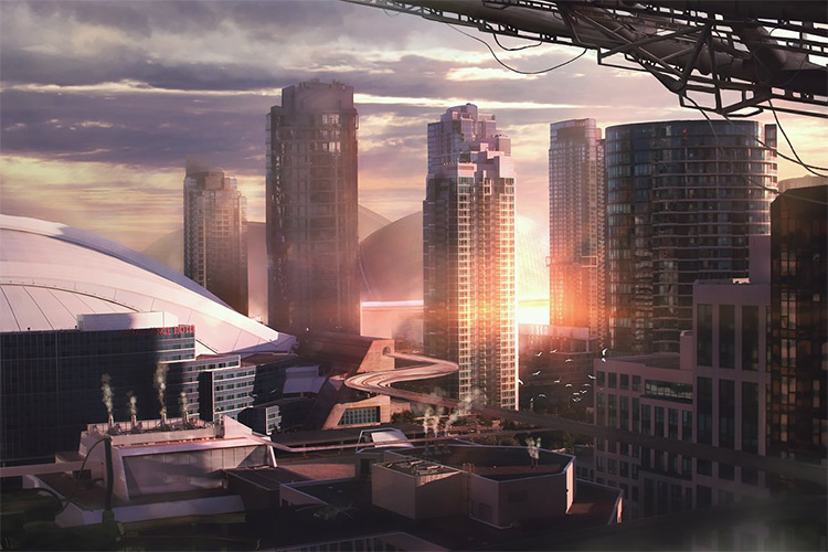 Dark industrial city concept art
