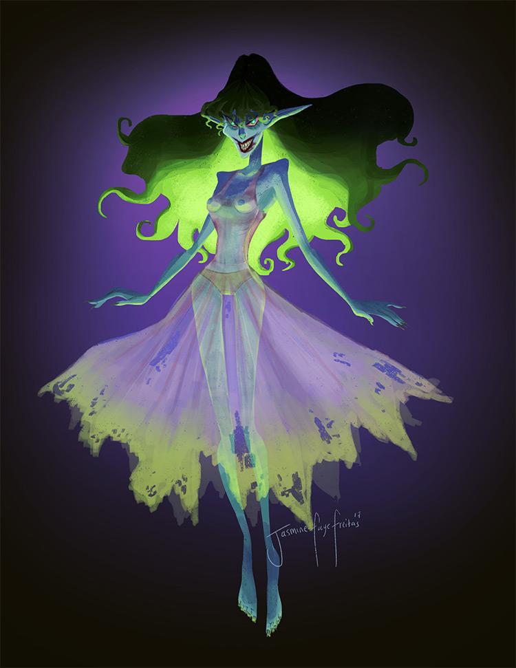 Uncensored naked poltergeist creature art