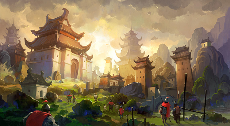 oriental castle vis dev illustration