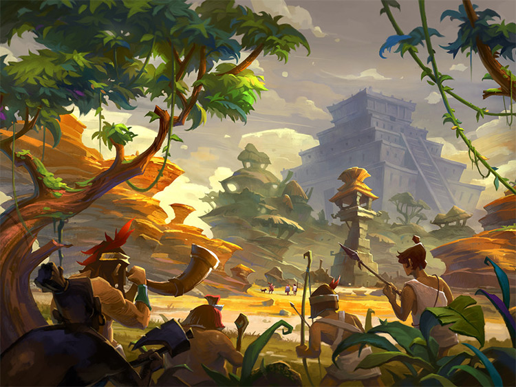 aztec civilization concept art environment