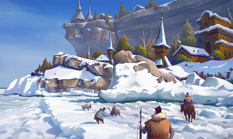 snowy fields concept art environments