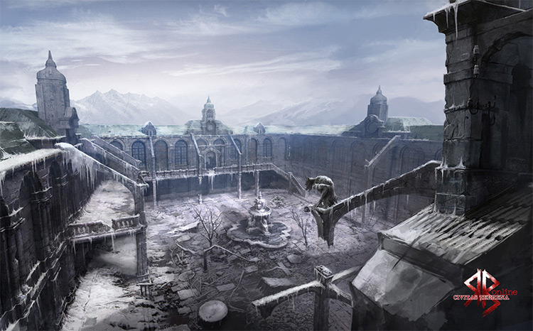 gargoyle concept art temple environment