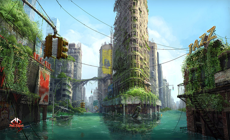 city underwater abandoned environment art