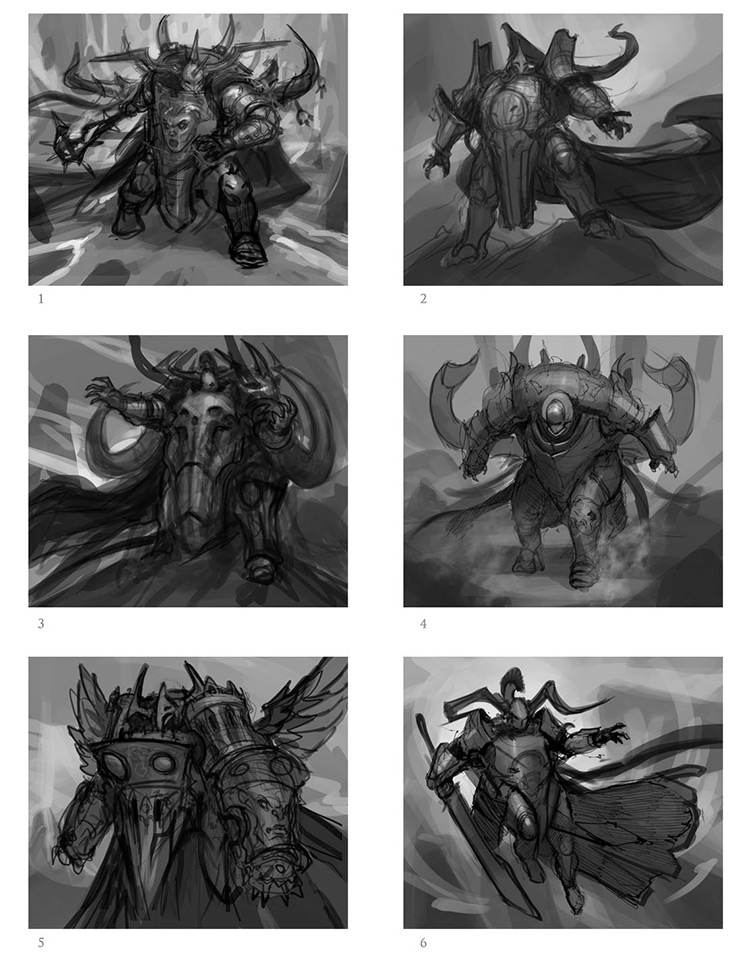 armored thumbnail warrior sketches