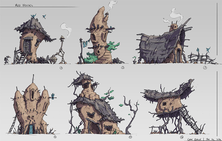 mud hut houses concept art