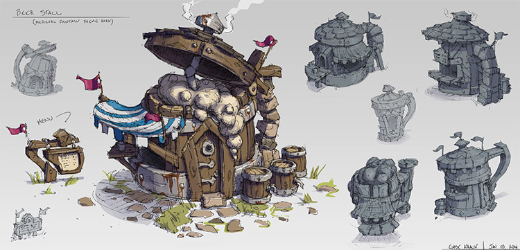 beer stall building concept art