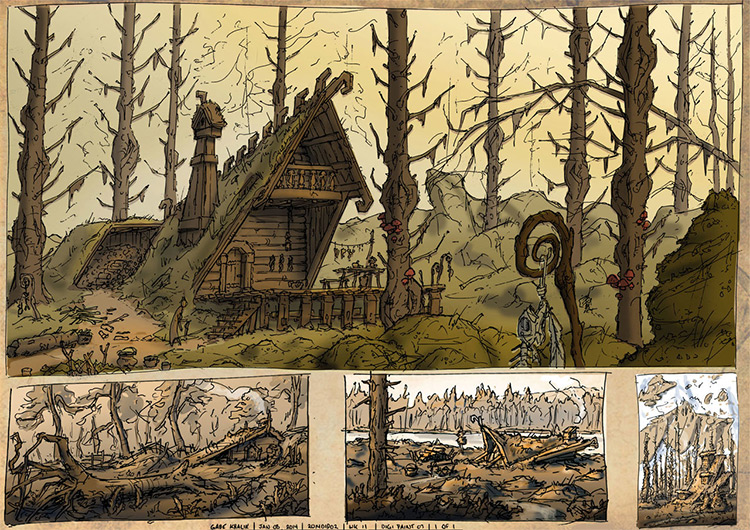 witch house forest concept art