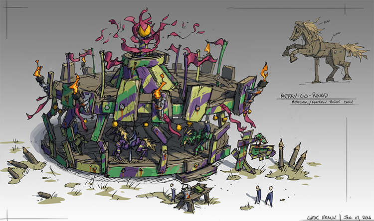 merry go round concept art prop