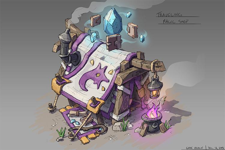 purple tent magic shop game concept