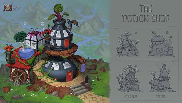 video game concept art potion shop idea